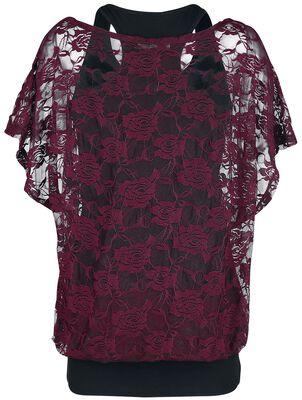 Bordeaux red lace shirt with black top
