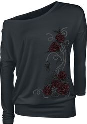 Black longsleeve with round neckline and print