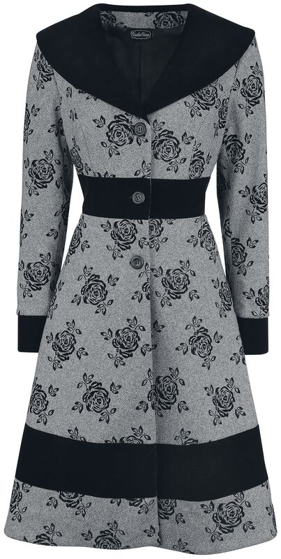 Flo Flocked Floral Wide Collar Flare Coat