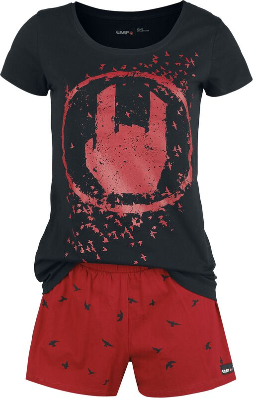 Black/Red Pyjamas with Rockhand Print