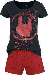 Black/Red Pyjamas with Rockhand Print