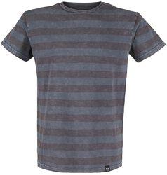 graues T-Shirt mit Querstreifen und Rundhalsausschnitt