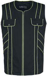Schwarze Weste mit Neon Nähten und Brusttaschen