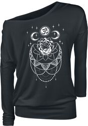 Black Long-Sleeve Shirt with Crew Neckline and Print
