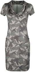 Olive Dress with Bird Print and Waterfall Collar