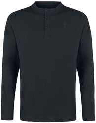Black Long-Sleeve Shirt with Embroidery and Crew Neckline