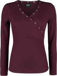 Burgundy Long-Sleeve Shirt with Eyelets and V-Neckline