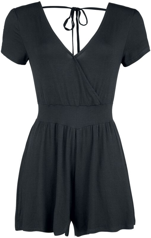 Overlay Back Knotted Short Jumpsuit