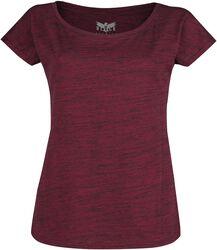 Red T-shirt in melange-look