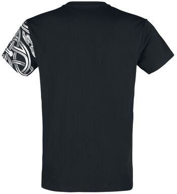 Black T-shirt with round neckline and print