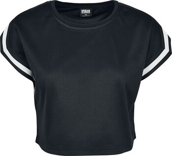 Ladies Short Extended Shoulder Stripes Mesh Tee