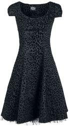 Arianna Black Leopard Flocked Day Dress