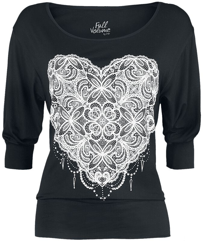 Black Long-Sleeve with Print and Wide Neckline