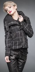 Checkered winter jacket with belt