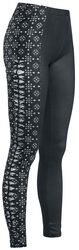 Black leggings with cut-outs and detailed print