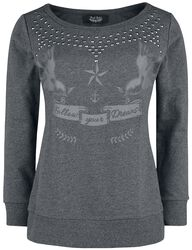Sweatshirt with Print and Studs