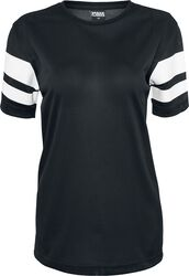 Ladies Stripe Mesh Tee