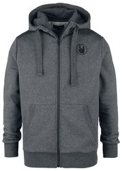 Grey Hooded Jacket with Embroidery