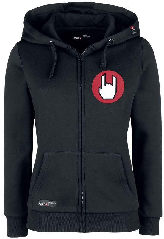 Black Hooded Jacket with Rockhand Print