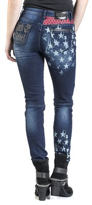 Skarlett - Dark-Blue Jeans with Prints and Details