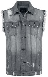 Destroyed Washed Denim Vest