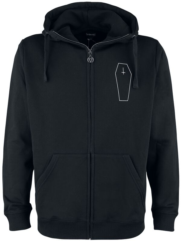 Black Hooded Jacket with Print on the Chest and Back