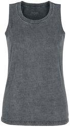 Grey top with custom wash and round neckline