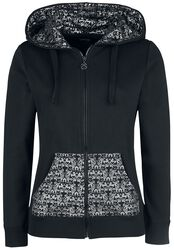 Black Hooded Jacket with Silver Print