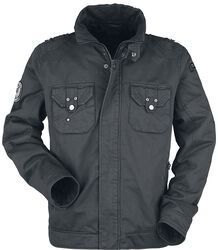 graue Jacke mit Skullprint und Patches