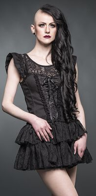 Mini dress with mesh insert and ribbons