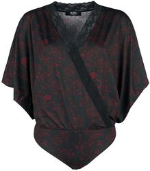 Black Wrap-Style Body with Kimono Sleeves and All-Over Print
