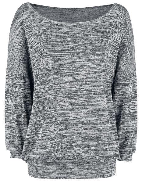 a maniche Maglia Oversized lunghe Sweater Melange Wideneck qwXOHIX