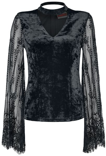 Velvet Top with Full Lace Sleeve Maglia a maniche lunghe