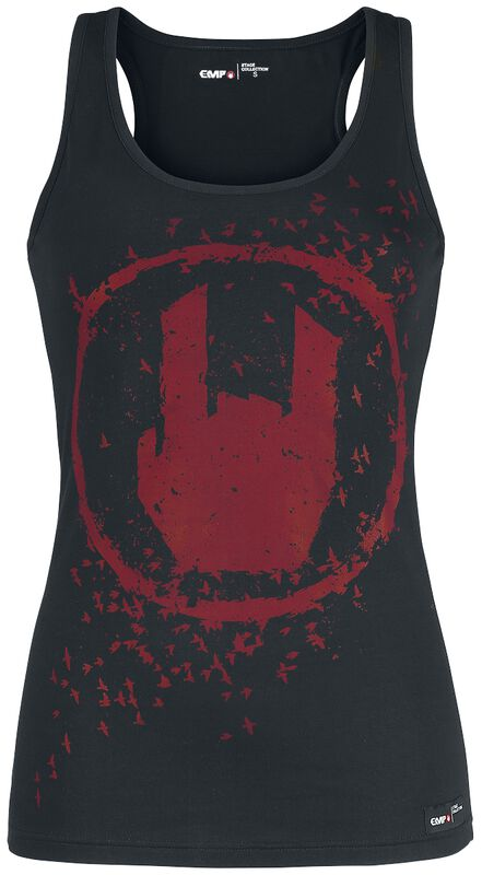 Black Top with Coloured Rockhand Print