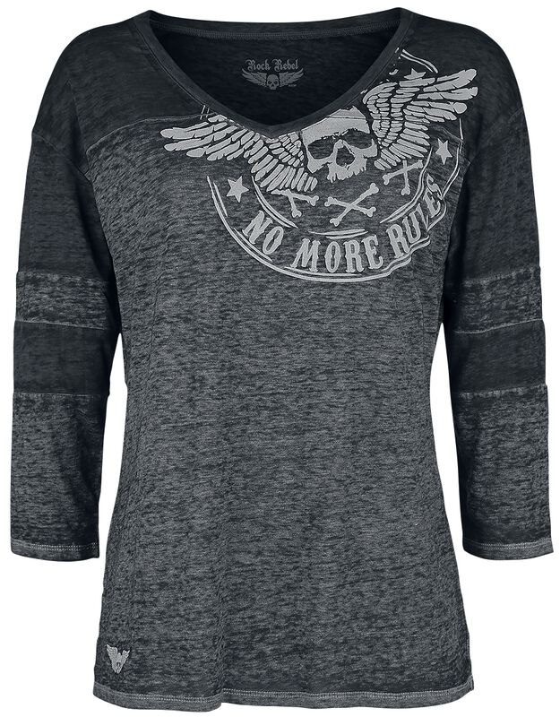 Grey melange long sleeve shirt with print