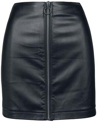 Ladies Faux Leather Zip Skirt