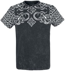 Black Washed T-shirt with Button Placket