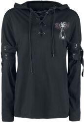 Gothicana X Anne Stokes - Schwarzes Langarmshirt mit Schnürung und Print