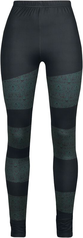 Black Leggings with Coloured Stripes with Skull Pattern