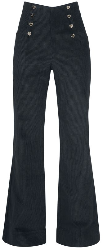 Blith Black Corduroy High-Waisted Trousers