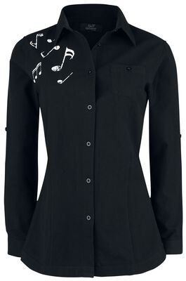 Black Long-Sleeve Shirt with Note Print