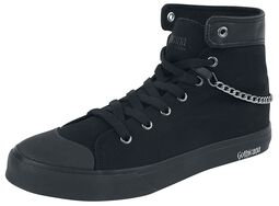 Black High Sneakers with Cross Motif