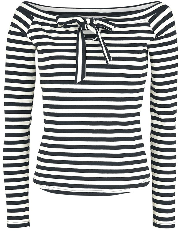 Houdini Black And White Striped Cosy Boatneck Top