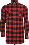 Side-Zip Long Checked Flannel Shirt