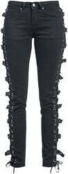 Black jeans with lacing and buckles
