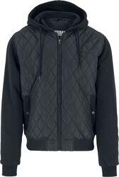 Hooded Diamond Quilt Nylon Jacket