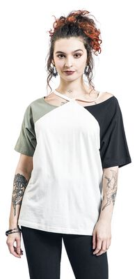 White T-shirt with different coloured sleeves and cut-outs