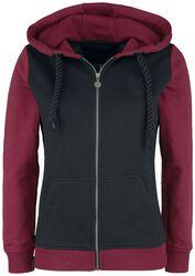 Black/red hooded jacket