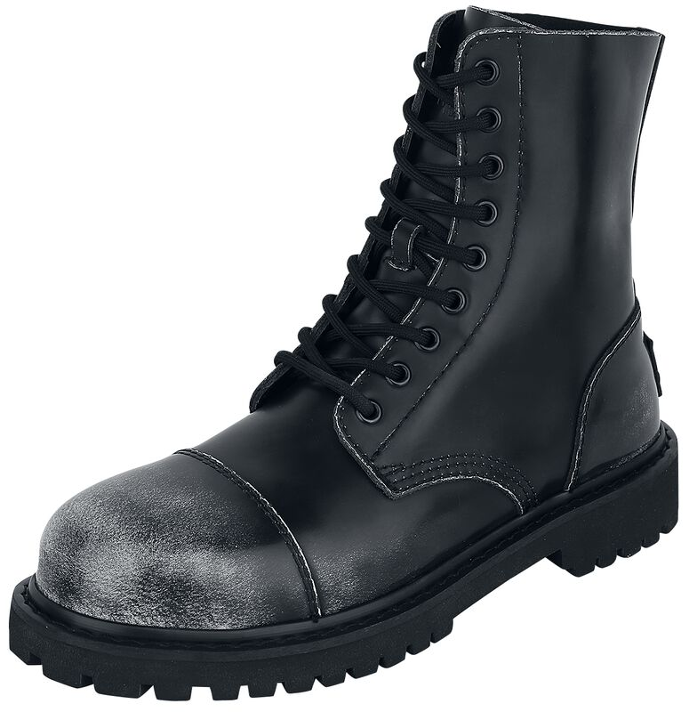 Black 9-Hole Boots in Used-Look