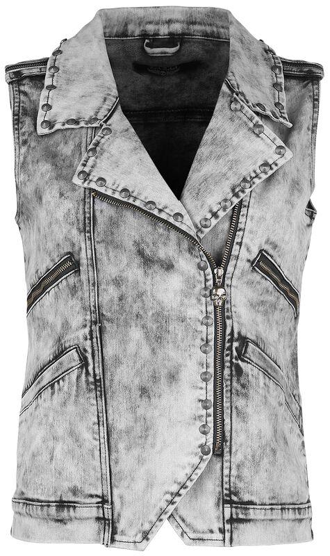 Grey waistcoat with wash and decorative stitching